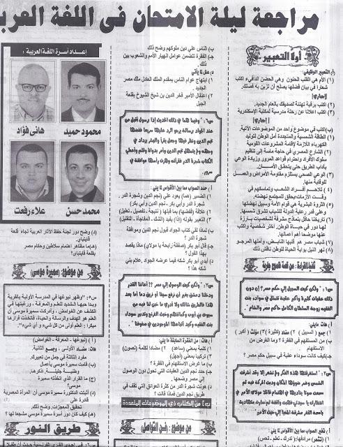 مراجعة ليلة الامتحان فى اللغة العربية