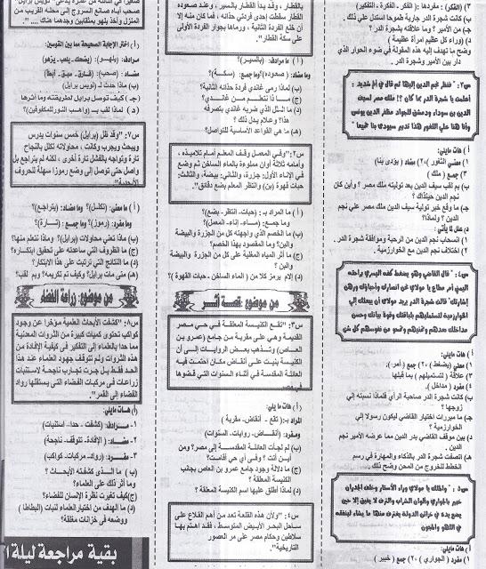 مراجعة ليلة الامتحان فى اللغة العربية2