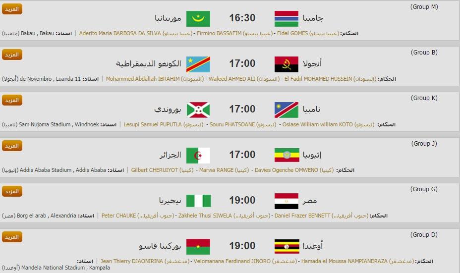 مواعيد مباريات تصفيات كأس الأمم الأفريقية