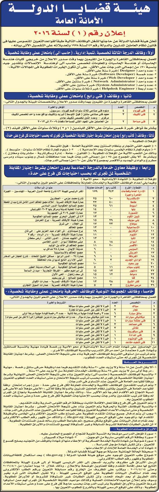 اعلان مسابقة وظائف هيئة قضايا الدولة 2016
