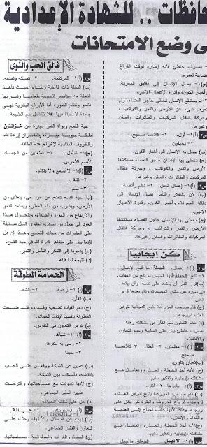 أهم فقرات القراءة المتكررة فى امتحان اللغة العربية للشهادة الإعدادية3