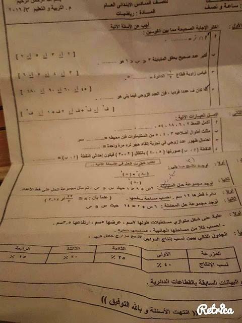 امتحان الرياضيات بالشرقية