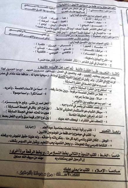 امتحان عربي الدقهلية