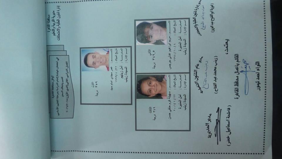 اوائل الشهادة الاعدادية محافظة القاهرة4
