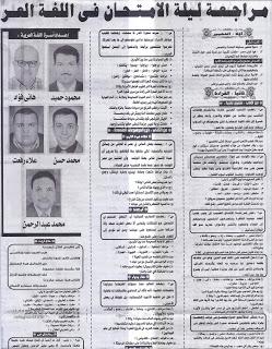 توقعات اللغة العربية للصف الثالث الاعدادى 2016
