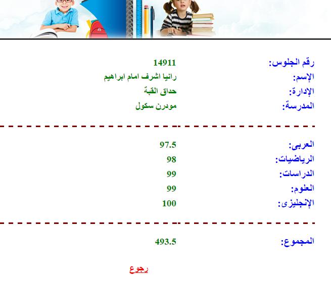 نتيجة ابتدائية القاهرة