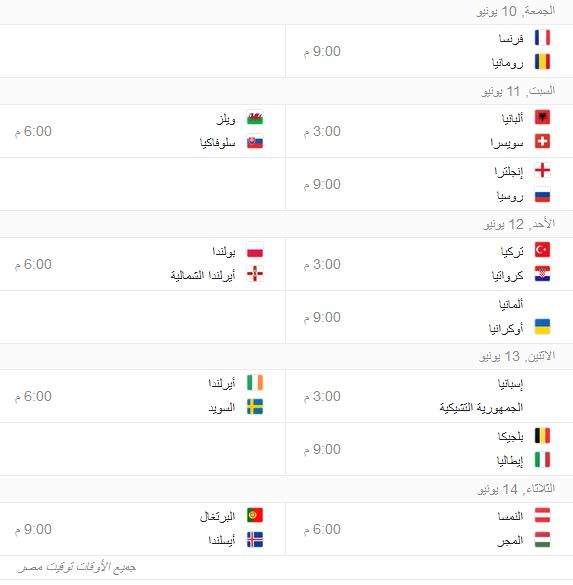 جدول مباريات يورو 2016