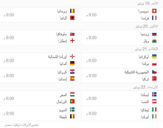 جدول مواعيد مباريات يورو 2016 فى فرنسا