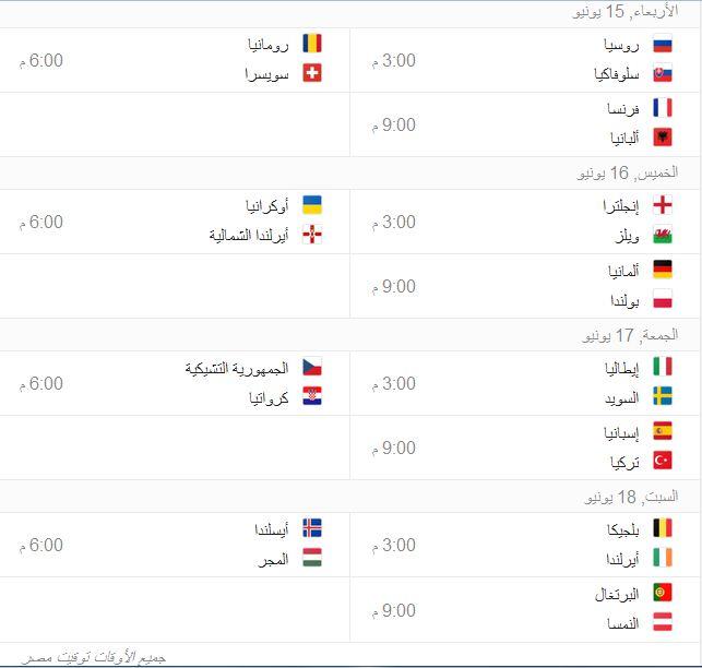مواعيد مباريات كأس الأمم الأوروبية 2016