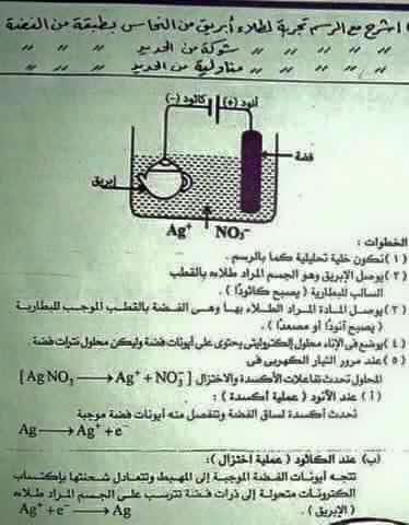 نموذج اجابة امتحان الكيمياء
