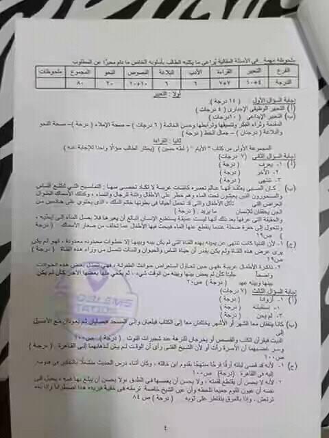 نموذج امتحان اللعة العربية