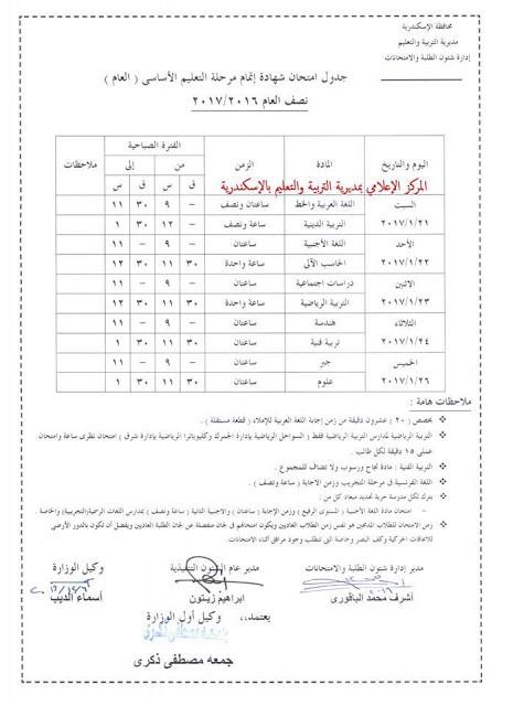 جدول امتحانات محافظة الاسكندرية